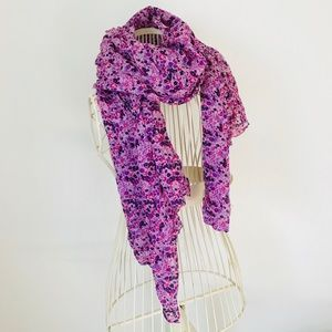 Purple and Pink Floral Scarf